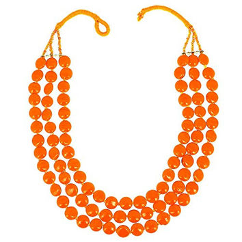 Amber Orange Beaded Necklace Indian Handmade Costume Jewellery Fashion