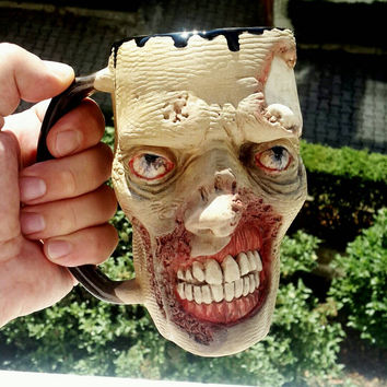 Handmade Coffee Mug,Zombie Face Mug, Halloween, Twd, The Walking Dead Theme Mug,Horror, Ceramic cup  Sculpture's, Custom, Coffee lovers Gift