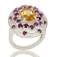 925 Sterling Silver Amethyst and Citrine Gemstone Cluster Statement Ring