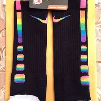 **Rare* Custom Horizontal Rainbow Nike Elite Socks ( Mens Large)