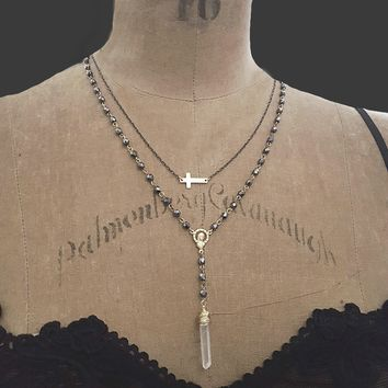 14k Gold Filled Chain Sideways Gold Cross Necklace