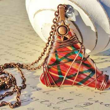 Fused Glass Triangle Pendant wrapped with Antiqued Copper Wire Copper Sunshine Bail