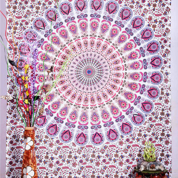Psychedelic Indian Mandala tapestry, Indian Wall Hanging, Bohemian Tapestry,  Ethanic Decor Art