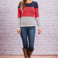 Preppy Pop Sweater, Coral