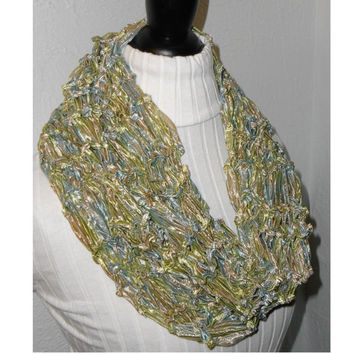 Infinity Scarf Sparkling Hand Knit Light Green Blue Tan Metallic Loop Circle Spring Scarf