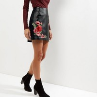 Cameo Rose Black Leather-Look Embroidered Skirt