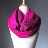 Hot Pink Infinity Scarf , Pashmina , paisley scarf, bright scarf