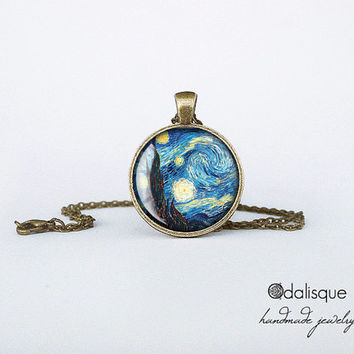 Handmade Starry Night by Vincent Van Gogh Bronze Pendant gift present jewelry birthday for her round circle necklace