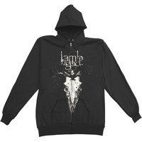 Lamb Of God Men's  Candlelight Zippered Hooded Sweatshirt Black Rockabilia