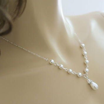 Swarovski Pearl Necklace Bridal Jewelry Set Crystal and Pearl Necklace Bridal Earrings Sterling Silver Wedding Jewelry Bridal Y Necklace