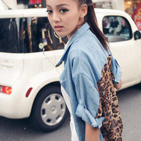 YESSTYLE: PUFFY- Leopard print back Denim Shirt (Light Blue - One Size) - Free International Shipping on orders over $150