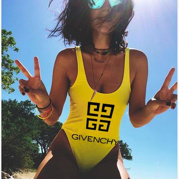 Givenchy Popular Women Sexy Letter Print Vest Style U Collar One Piece Bikini Swimsuit Bathing Yellow