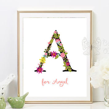 Printable Nursery Letter A Monogram Art Nursery Decor Letter A with Flowers A for Angel Baby Room Gift Nursery Gift Letter Flower Monogram