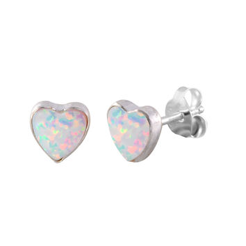 Sterling Silver Opal Gemstone Earrings Iridescent Pearl 6mm Heart