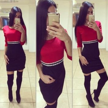 Red And Black Color Contract Bodycon Dress