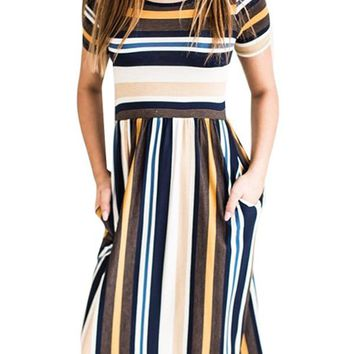 Yellow Multicolor Striped Baby Girl Maxi Dress