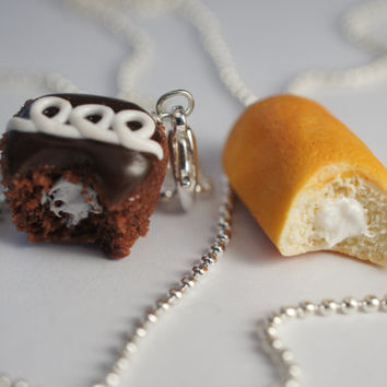 Best Friend Necklace Set Miniature Food by Sweetnsavorytrinkets