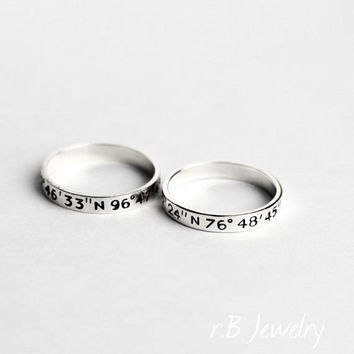 Long Distance Relationship, Promise Ring, Couple Ring Set, Couple Rings, Best Gift For Boyfriend, LDR Gift, Gift For Girlfriend, Couple Ring