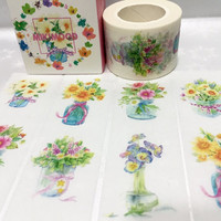 Potted flower washi tape 10M x 3 cm lovely flower art EXTRA WIDE Masking tape flower arrangements label gardening diary planner sticker gift
