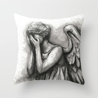Weeping Angel Watercolor Doctor Who Art Throw Pillow by Olechka | Society6