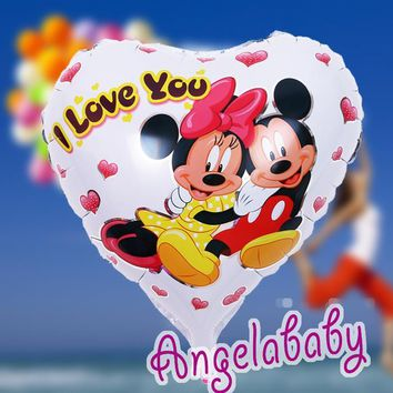 5pcs/lot free shipping large balloon big Minnie and mickey mouse party  cartoon i love you balloon for birthday party  45*45cm