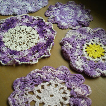 Vintage Crochet Doilies, Purple White Crochet, floral doily, handmade crochet doiliy, variegated purple crochet thread, purple violet decor