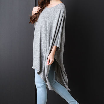 Oversized Draped Sweater Poncho in Gray