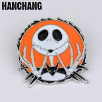 The Nightmare Before Christmas Skull Brooch High Quality Enamel Pin Badge Broche Personalized