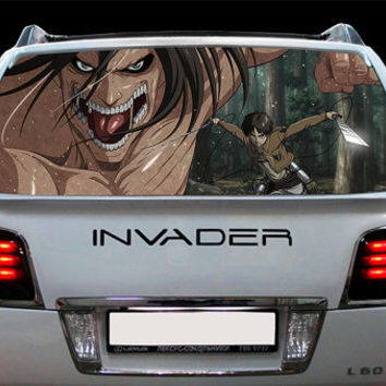 Perfik295 Full Color Print Perforated Film Truck SUV Back Window Sticker Attack on Titan