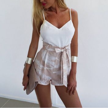 White Straps Crop Top&Print Short Two Piece B005230