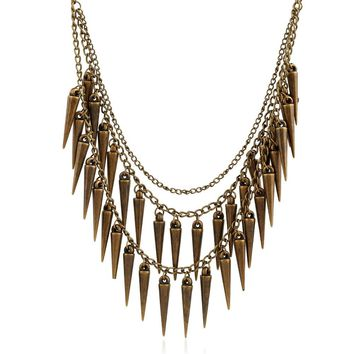 HC Trendy Multi Layer Chains Statement Necklace Women Vintage Jewelry Punk Style Metal Pendant Ethnic Necklace Boho Necklace F