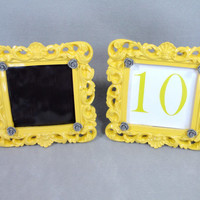 Custom Yellow & Grey Custom Table Number Frame Yellow and Grey Chalkboard or Custom Printed Shabby Chic Baroque Vintage