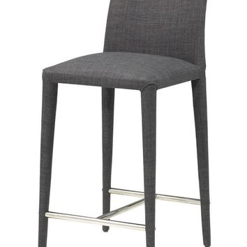 Catina Counter Stool Charcoal Fabric (Set Of 2)
