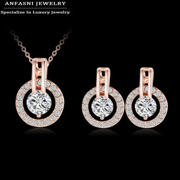 Big Promotion 80%Off New Style Fashionable Sets Hot  Sale Rose Gold Plated Set Earring/Necklack Round Set For Women ST0017-A