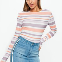 Missguided - White Stripe Long Sleeve Textured Crop Top