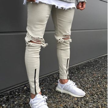 Fashion Hi-Street Men Destroyed Skinny Jeans Hem zipper Ripped Hip Hop Jeans Holes On the Knee Distressed Denim Joggers pants