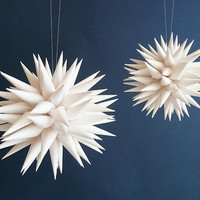 White Paper Star Ornament, Handmade Home Decor, Urchin, Modern Polish Folk Art by Kissa Design - Fine White, 3 inch