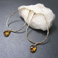 Aphrodite 36 Hammered drop hoops with removable stone of your choice