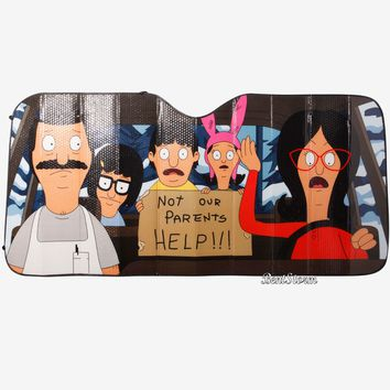 Licensed cool BOB'S BURGERS Not Our Parents HELP! ACCORDION SUNSHADE Sun Shade Auto Car Truck