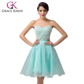 Grace Karin Ball Gown Prom Dress Sweetheart Cute Beige Pale Turquoise Formal Robe De Cocktail Party Dress Beading Clearance 2017