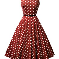 Wine Red Polka Dot Hepburn Dress