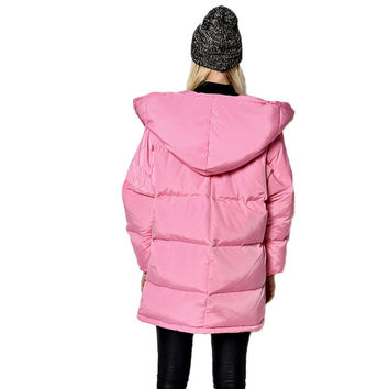 Parkas Loose Fit Medium Long Warm Hooded Coat