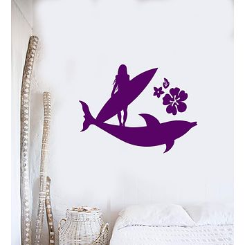 Vinyl Wall Decal Surfer Girl Beach Style Surfing Flowers Dolphin Stickers Mural (ig5825)