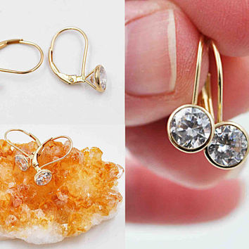 Diamonique 14K Yellow Gold and CZ Pierced Earrings, QVC, Cubic Zirconia, Drop, 1.8 Grams, 7mm, 2.6 CTTW, Fiery Sparkle! #c403