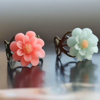 Flower Ring  Gorgeous Adjustable Resin Flower Ring 1 pc with 2 Colors to Choose for