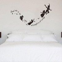 Removeable Tinkerbell Star Peter Pan DIY PVC Wall Stickers Decal Nursery