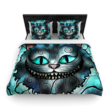 "Mandie Manzano ""Mad Chesire"" Teal Cat Woven Duvet Cover"