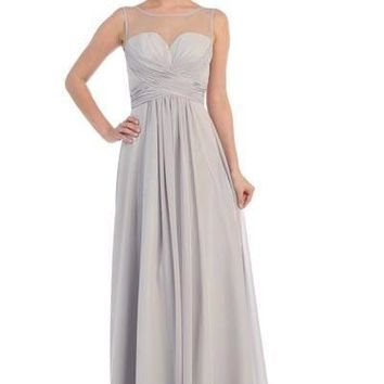 Sheer illusion Bridesmaid dress -mq1266 - CLOSEOUT