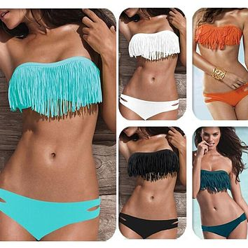 Hot Sale 8 Colors Sexy Tassel Bra Woman Sexy Elastic Bikini Set PAD Swimsuits Sport Fringe Top Swimwear Beachwear Western Style