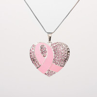 Breast Cancer Awareness Pink Ribbon Heart Rhinestone Pendant Chain Necklace